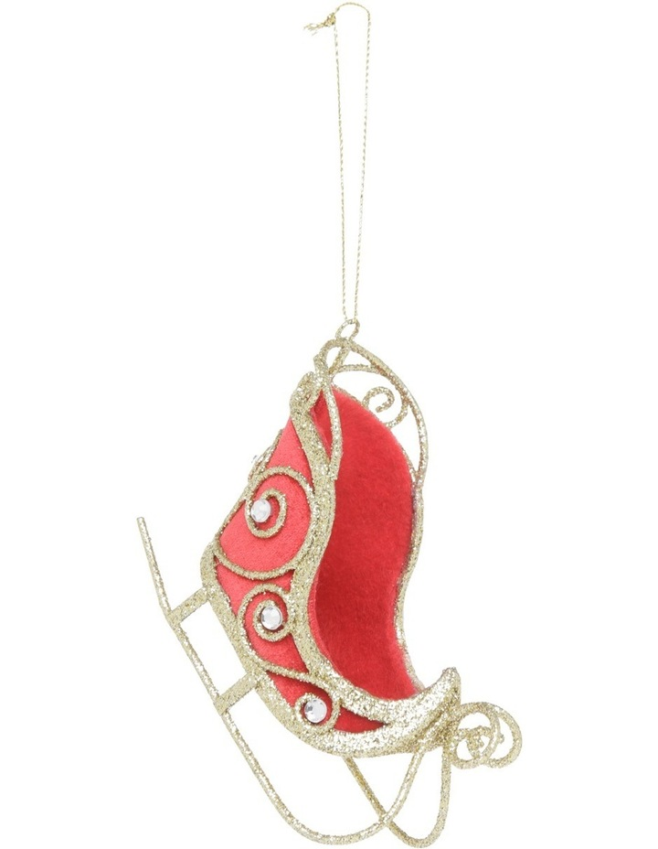 Heirloom Gold Glitter Wire Sleigh with Red Fabric image 1