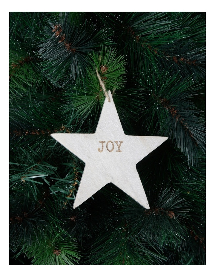 Eucalyptus 15cm White Washed Wooden Star with Joy Wording image 3