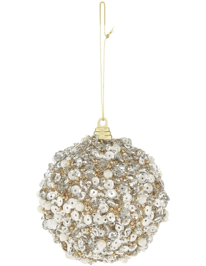Luxe 80mm Pink Glittered and Sequin Pearl Bauble image 1