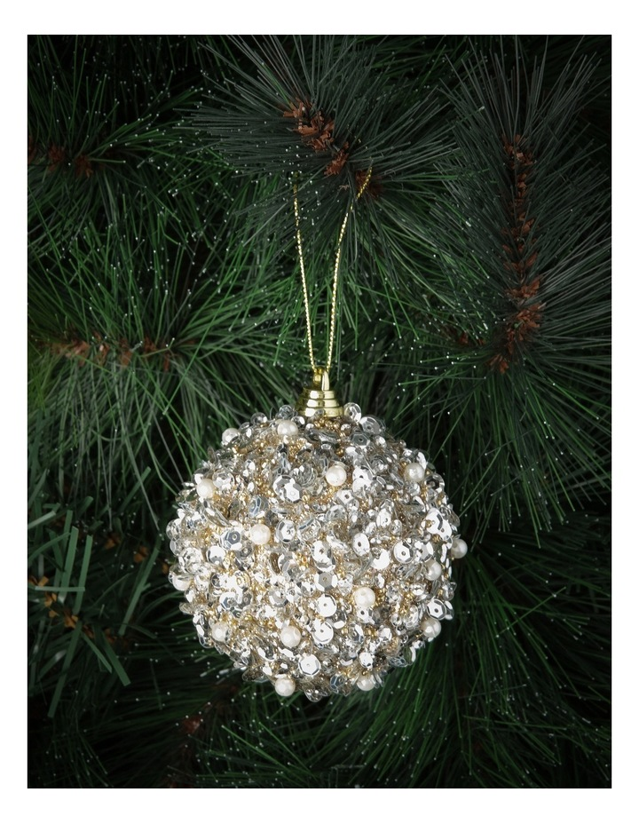Luxe 80mm Pink Glittered and Sequin Pearl Bauble image 2