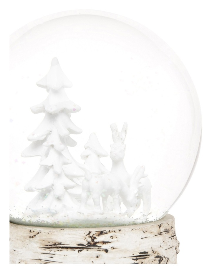 Eucalyptus 120mm White Deer And Tree Wind Up Musical Glass Globe image 3