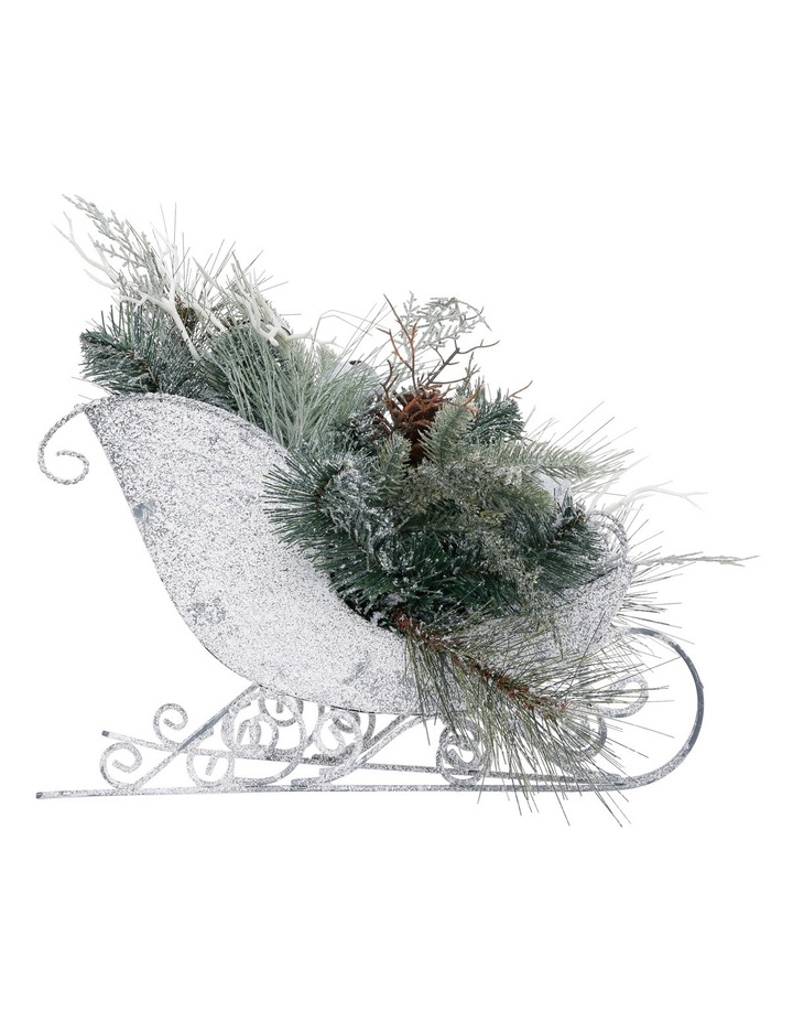 Eucalyptus Plastic Snow Sleigh With Snowleaves And Pinecones image 1