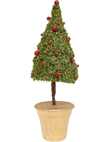 myer giftorium heirloom 45cm green rattan cone tree w decorative glitter berries