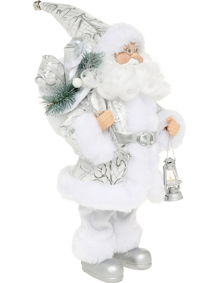 Luxe 30cm White and Silver Fabric Standing Santa Holding Lantern image 2