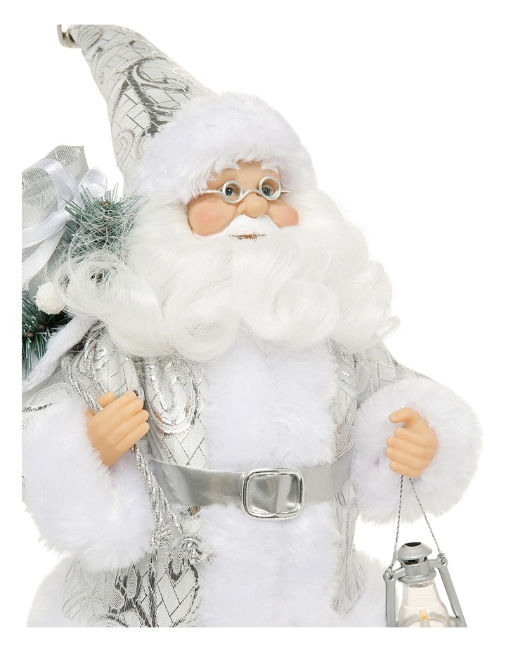 Luxe 30cm White and Silver Fabric Standing Santa Holding Lantern image 3