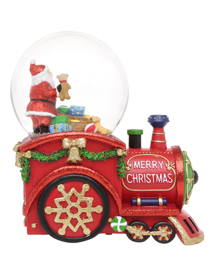 Merry And Bright 100m Red Santa Presents Wind Up Music Train Globe image 1