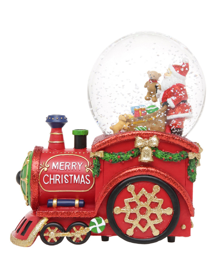 Merry And Bright 100m Red Santa Presents Wind Up Music Train Globe image 3