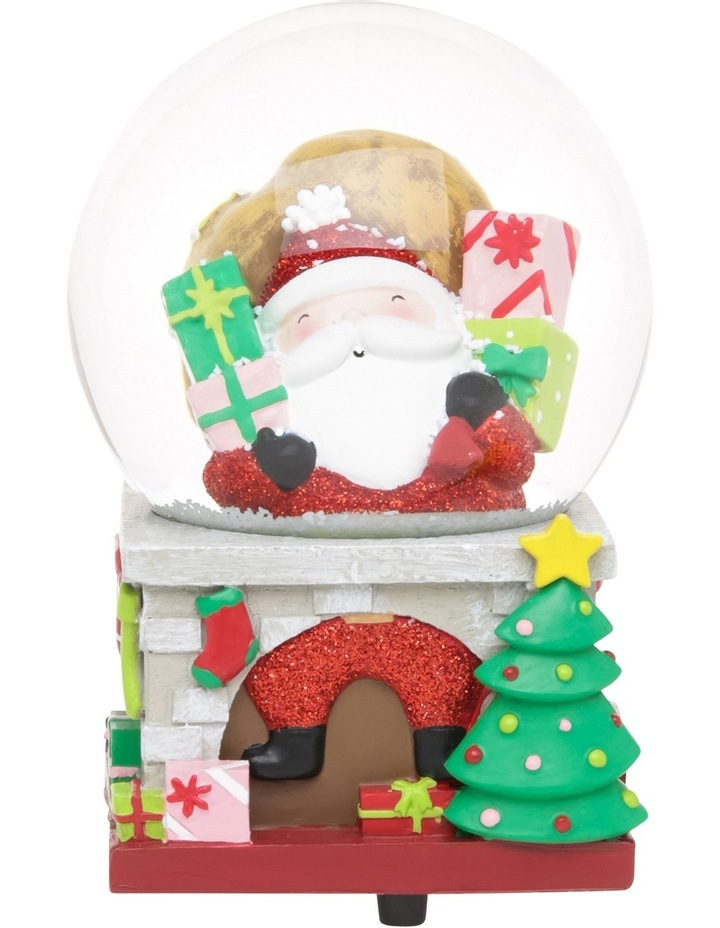 Merry And Bright 100mm Santa On Chimney Presents Wind Up Music Globe image 1