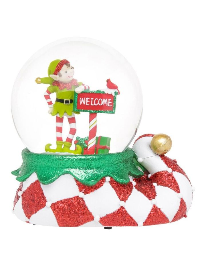Merry And Bright Lime Green And Red Elf Welcome Snowglobe image 1