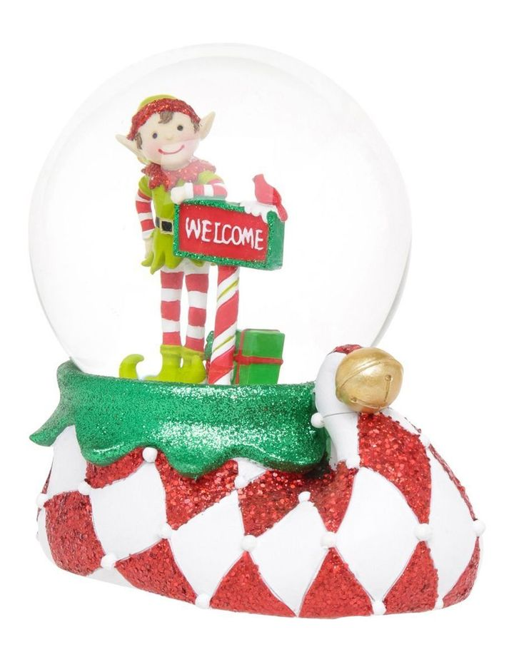 Merry And Bright Lime Green And Red Elf Welcome Snowglobe image 2