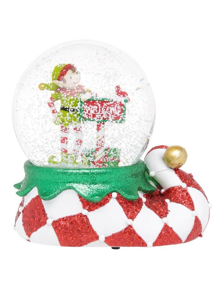 Merry And Bright Lime Green And Red Elf Welcome Snowglobe image 3