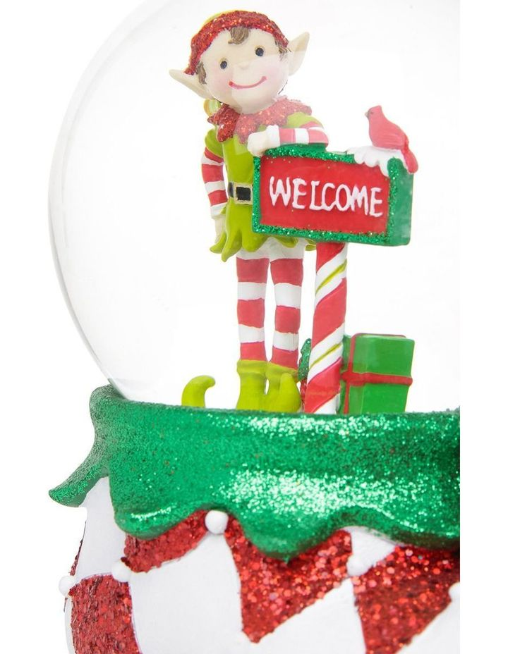 Merry And Bright Lime Green And Red Elf Welcome Snowglobe image 4