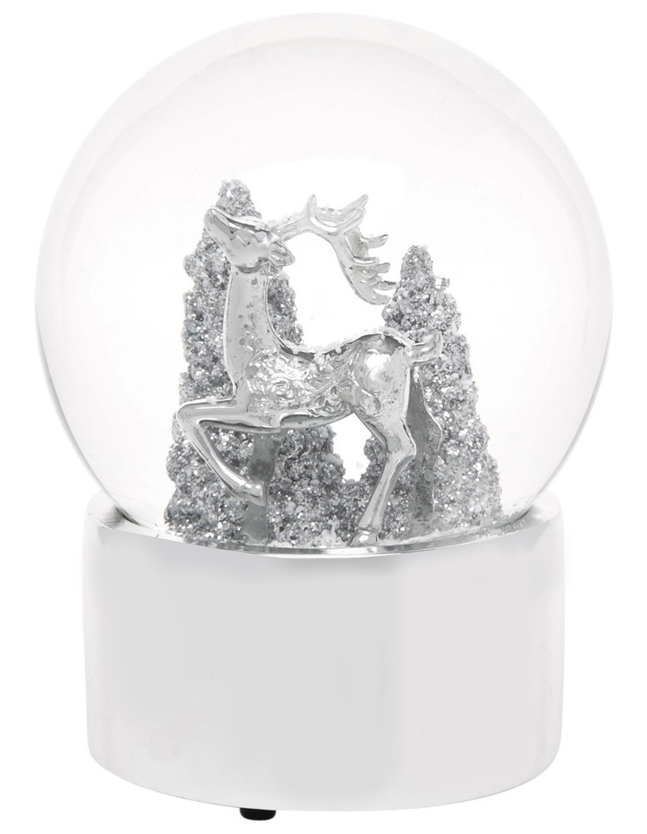 Luxe 120mm Silver Polyresin Deer With Glittered Tree Snowglobe image 1