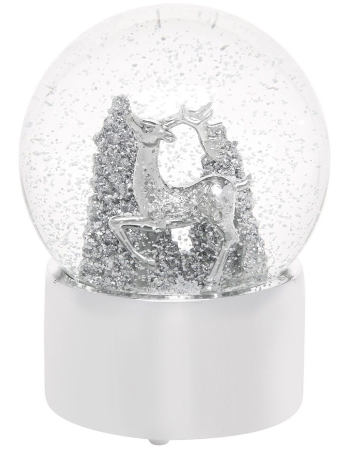 Luxe 120mm Silver Polyresin Deer With Glittered Tree Snowglobe image 2