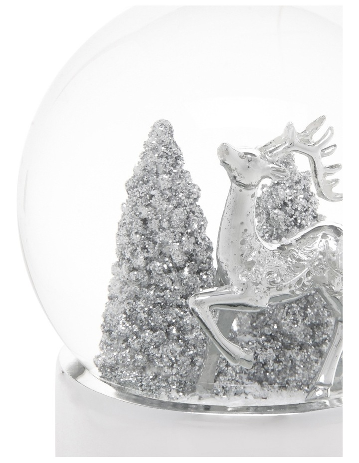 Luxe 120mm Silver Polyresin Deer With Glittered Tree Snowglobe image 3