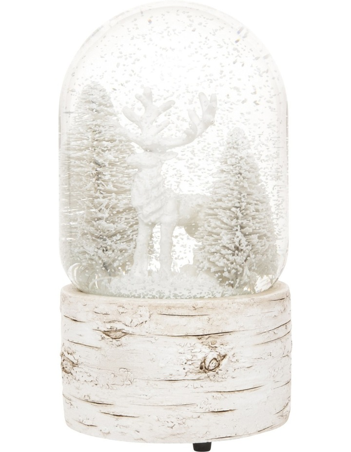 Eucalyptus 100mm Polyresin White Washed Deer with Tree Snow globe image 2