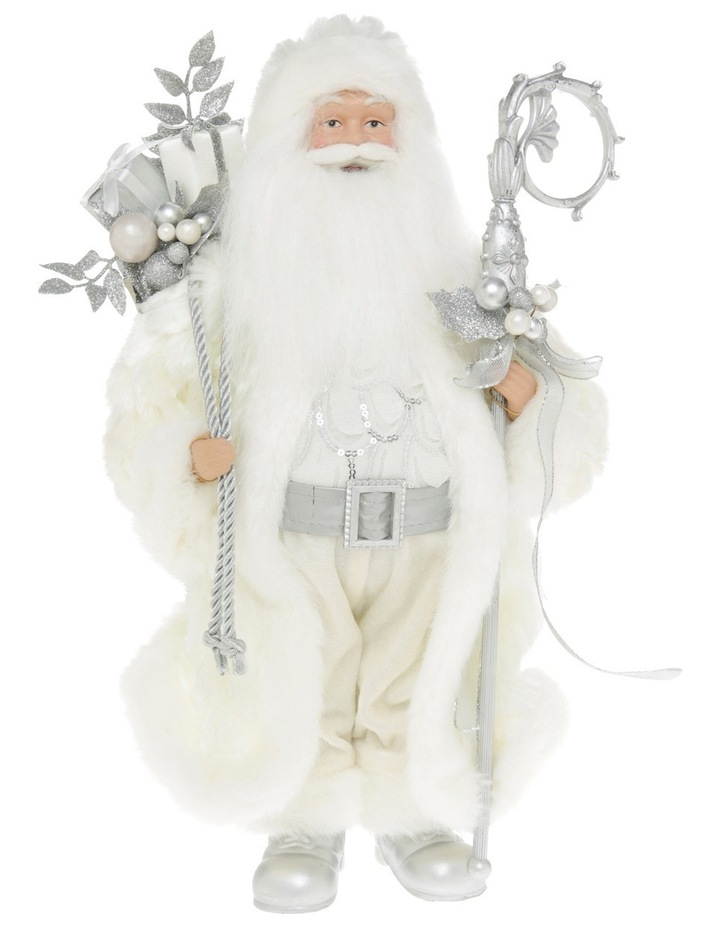 Luxe White And Champagne Santa With Sack And Staff image 1