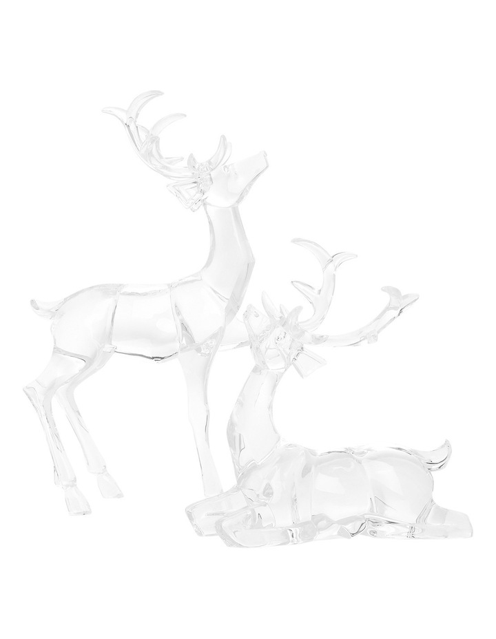 Luxe Clear Acrylic Sitting And Standing Reindeer Assorted image 1