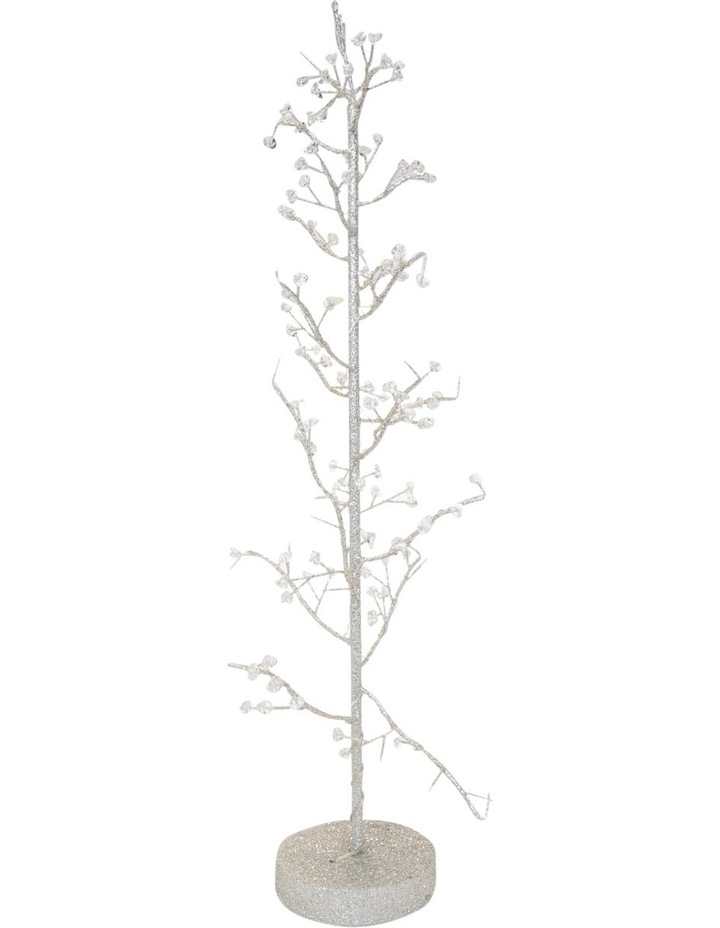 Luxe 75cm Led Light Silver Glittered Wire Tree Decorative Beads image 1