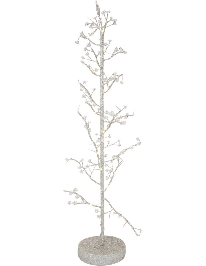 Luxe 75cm Led Light Silver Glittered Wire Tree Decorative Beads image 2