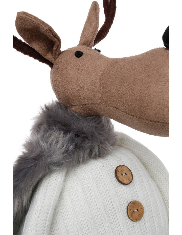Eucalyptus Brown Reindeer Wearing Knitted White Jumper image 3