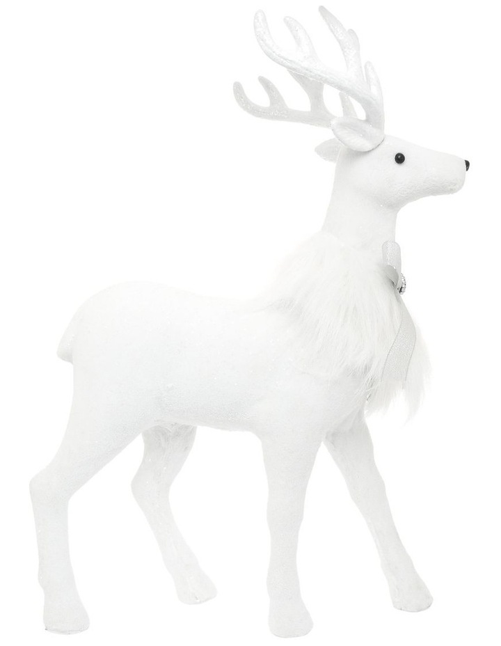 Luxe Faux Fur White Deer with Silver Bow image 1