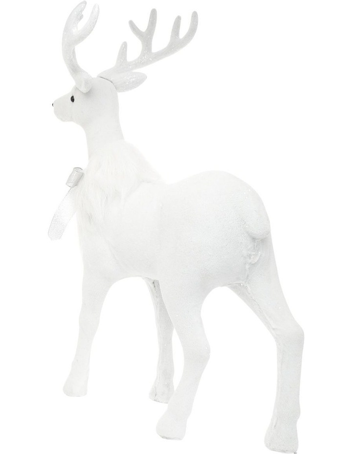 Luxe Faux Fur White Deer with Silver Bow image 2