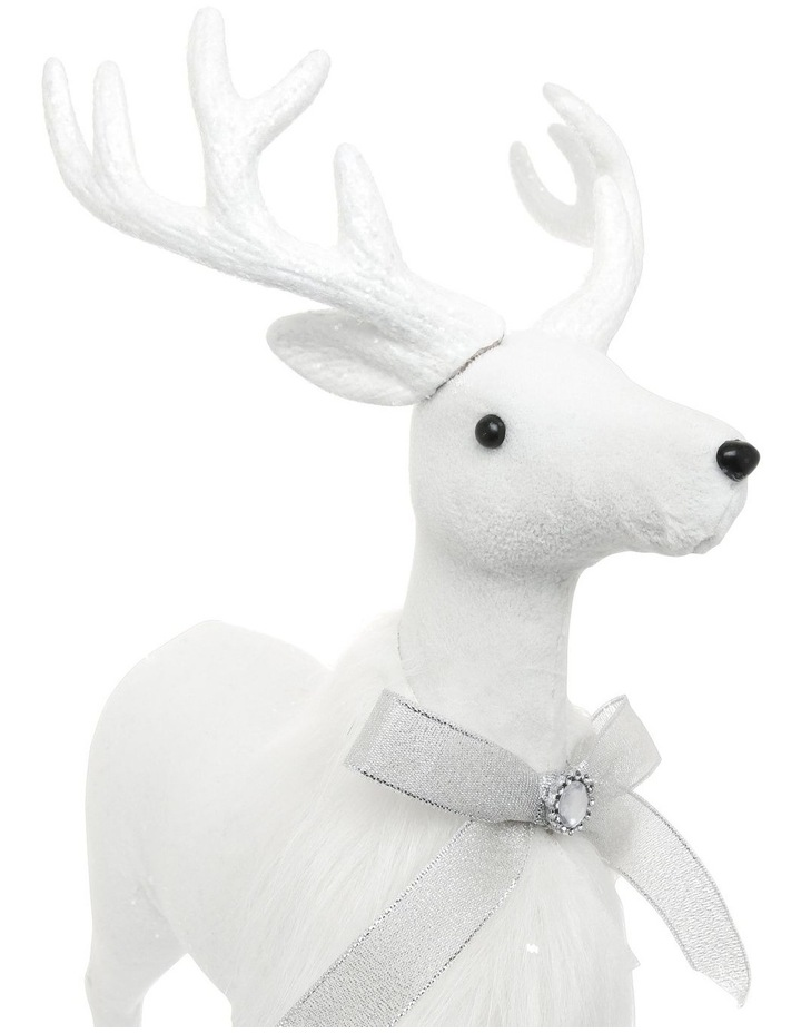 Luxe Faux Fur White Deer with Silver Bow image 3