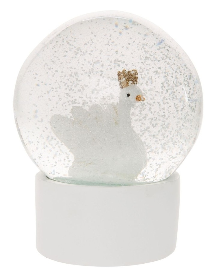 Luxe White Polyresin Swan Snowglobe image 2