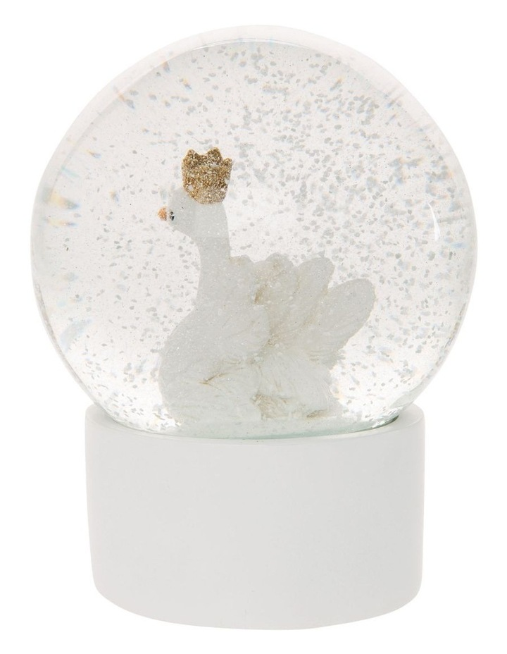 Luxe White Polyresin Swan Snowglobe image 3