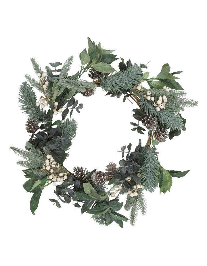 Eucalyptus White Berries and Silver Plastic Pinecones Leave Wreath image 1