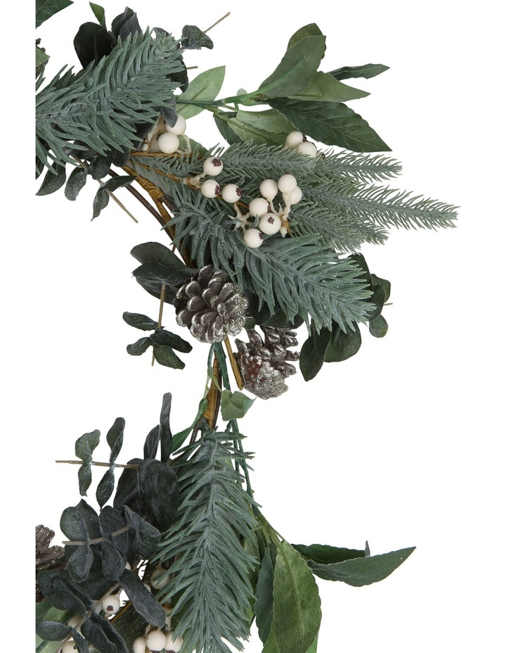 Eucalyptus White Berries and Silver Plastic Pinecones Leave Wreath image 2