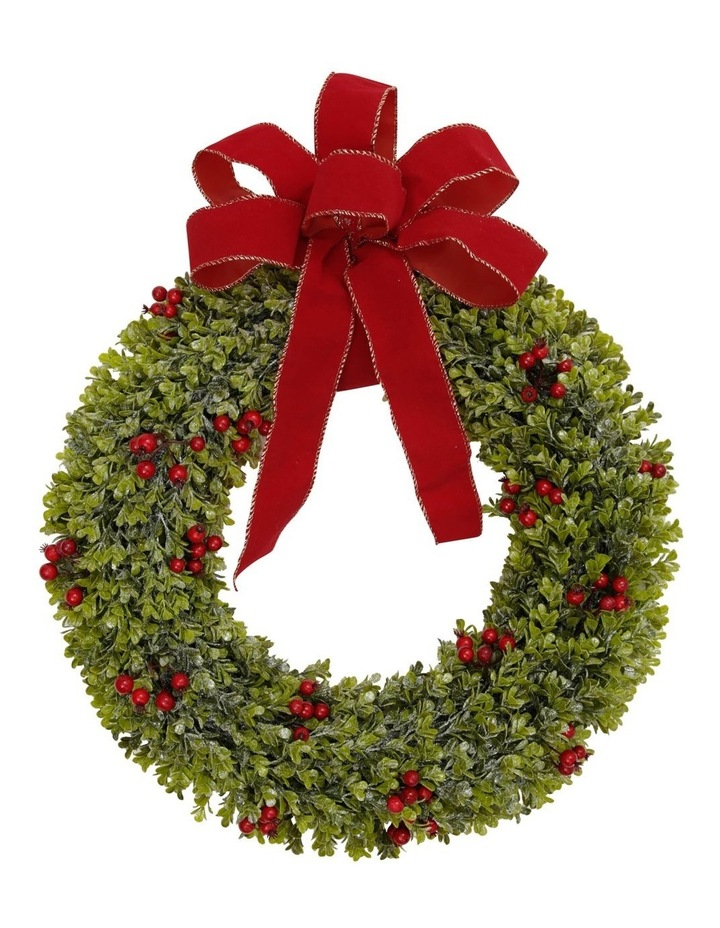 Heirloom Green Wreath With Red Bow image 1
