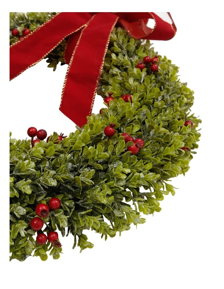 Heirloom Green Wreath With Red Bow image 2