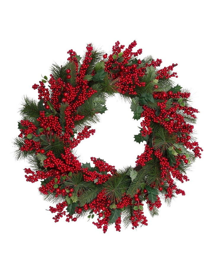 Heirloom 71cm Traditional Red Berries With Plastic Leaves Wreath image 1