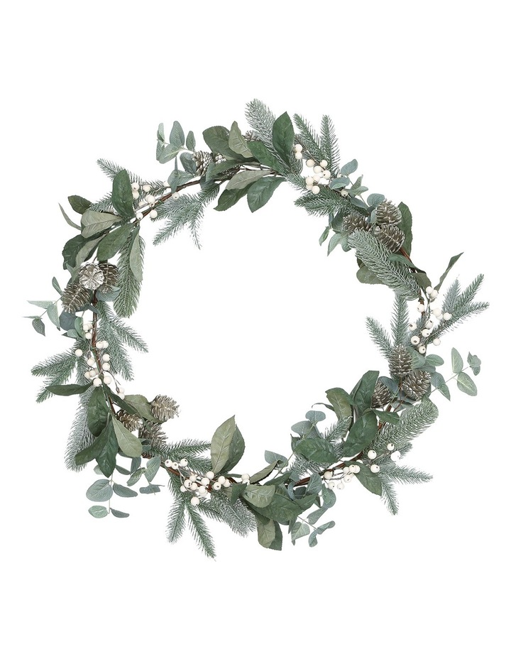 Eucalyptus White Berries and Silver Plastic Pinecones Leave Garland image 1