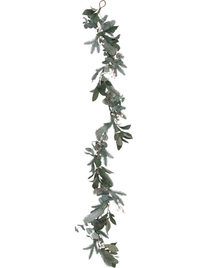 Eucalyptus White Berries and Silver Plastic Pinecones Leave Garland image 2