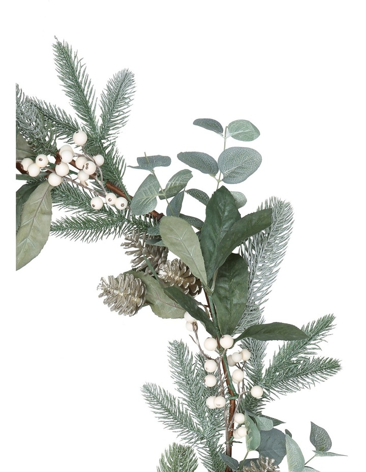 Eucalyptus White Berries and Silver Plastic Pinecones Leave Garland image 3