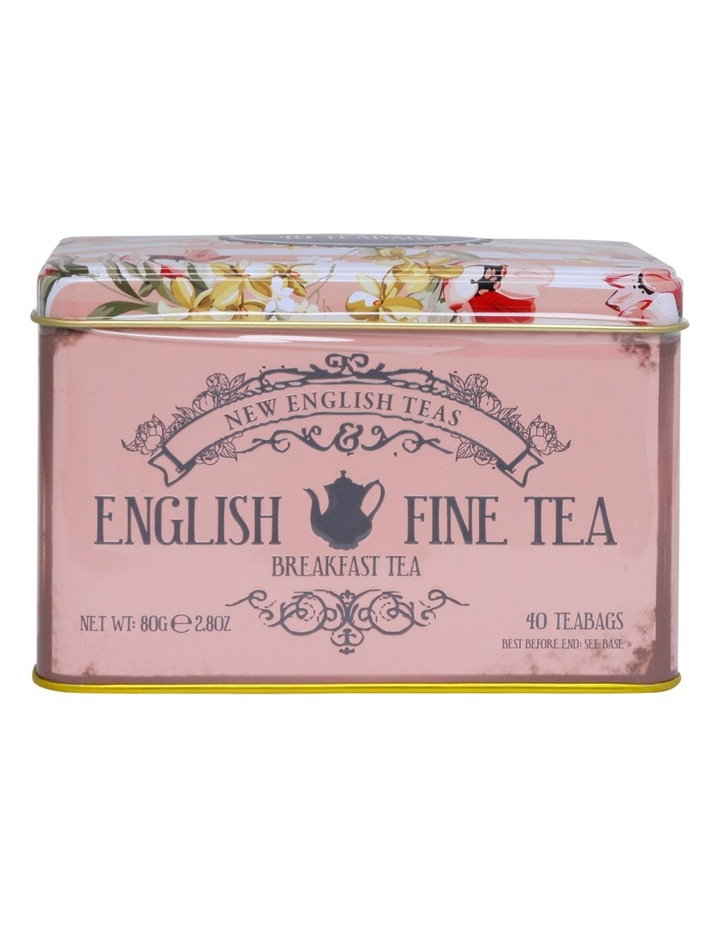 Floral Pink Tin with English Breakfast Tea 80g image 1