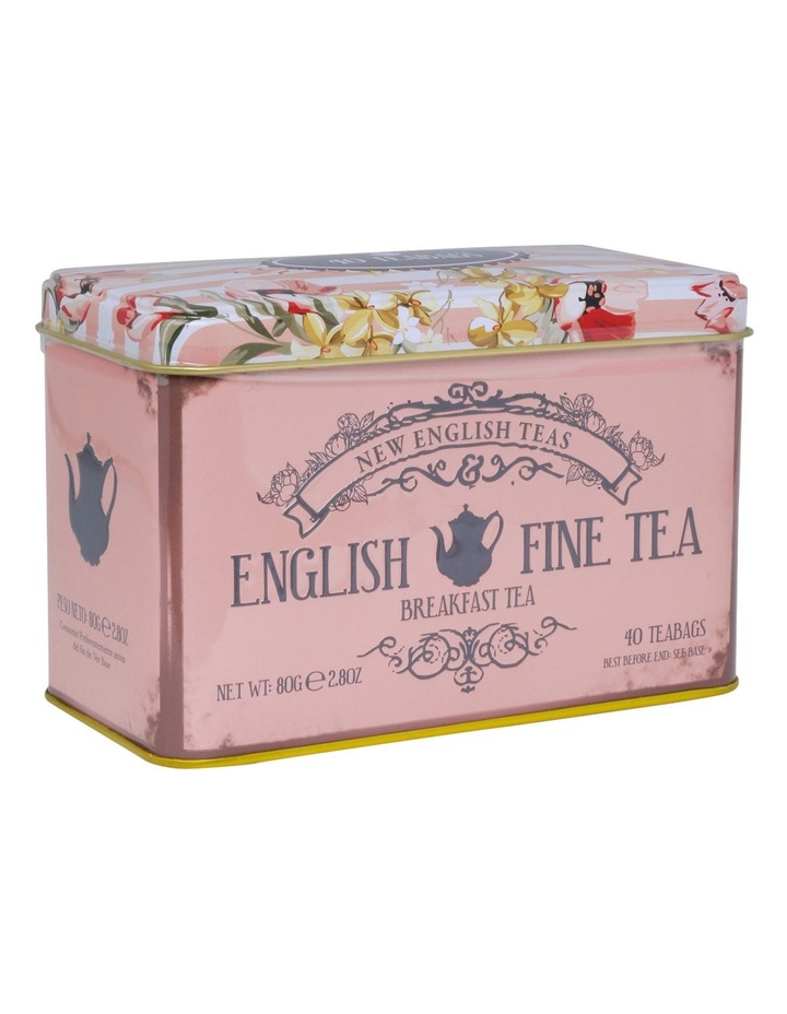 Floral Pink Tin with English Breakfast Tea 80g image 2