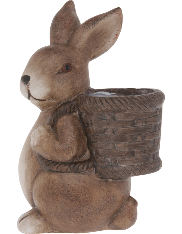 Painted Terracotta Bunny with Basket Figurine 22cm image 1