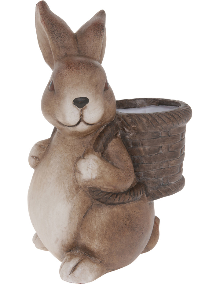 Painted Terracotta Bunny with Basket Figurine 22cm image 2