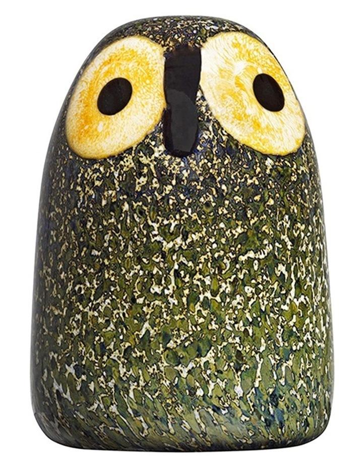 Oiva Toikkas Lovable Little Barn Owl 6cm Glass Ornament in Green Multicolour image 1