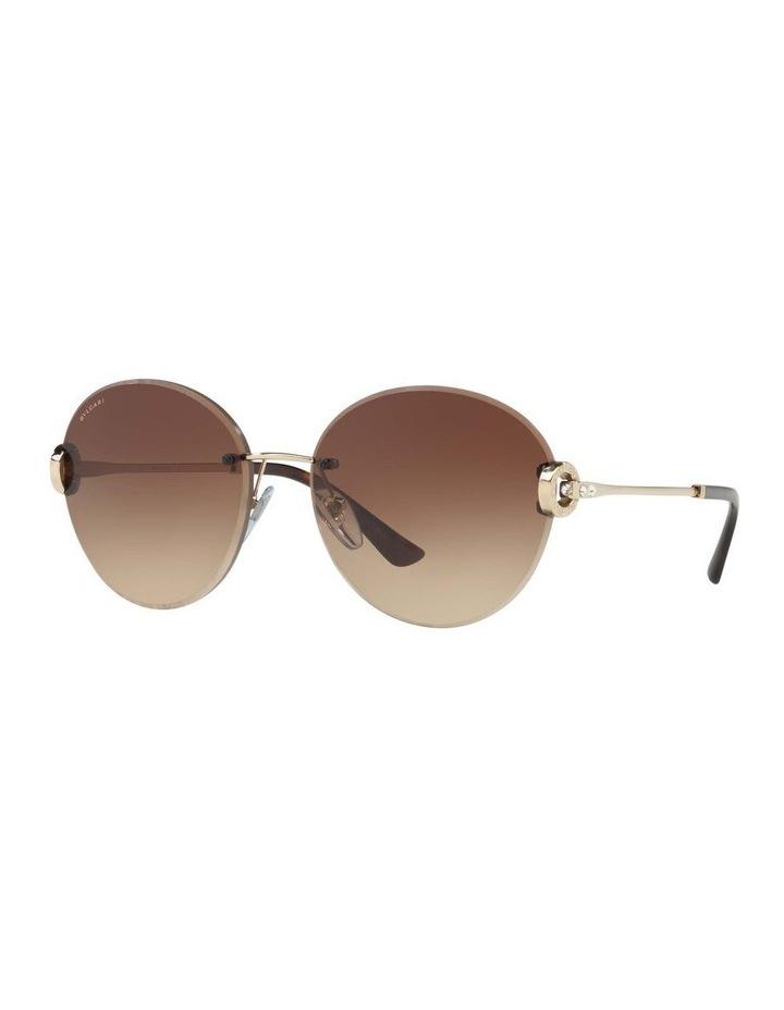 Gold Rimless Round Sunglasses BV6091B 406349 image 1