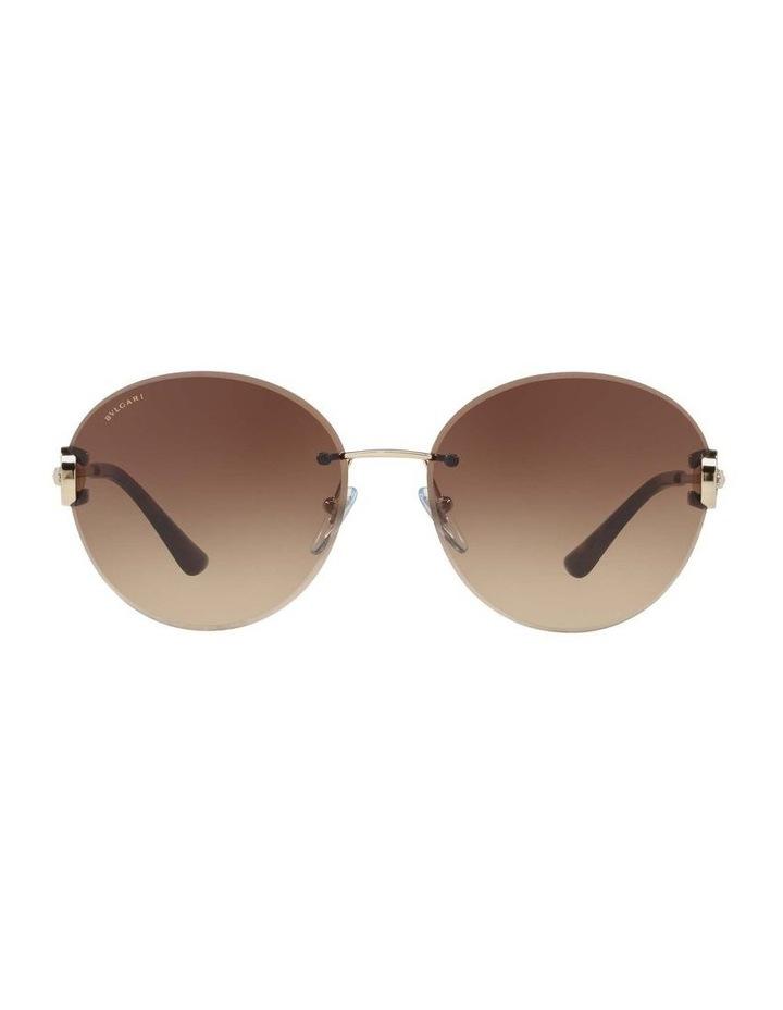 Gold Rimless Round Sunglasses BV6091B 406349 image 2