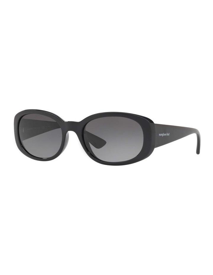 Polarised Black Rectangle Sunglasses HU2010 413005 image 1