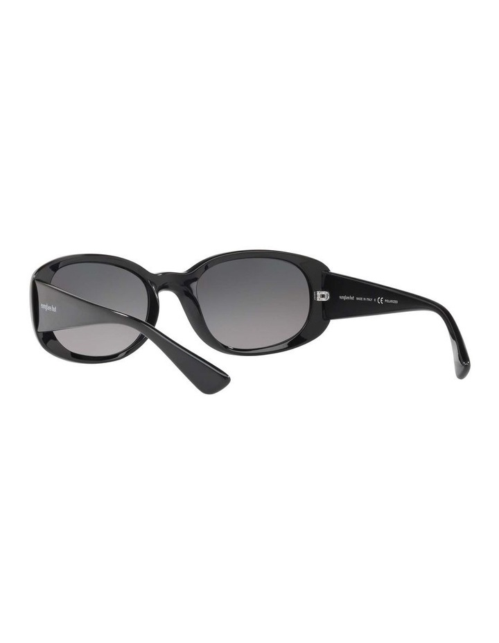 Polarised Black Rectangle Sunglasses HU2010 413005 image 6
