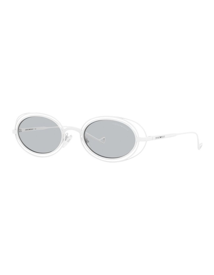White Metal With Grey Tint Oval Sunglasses image 1