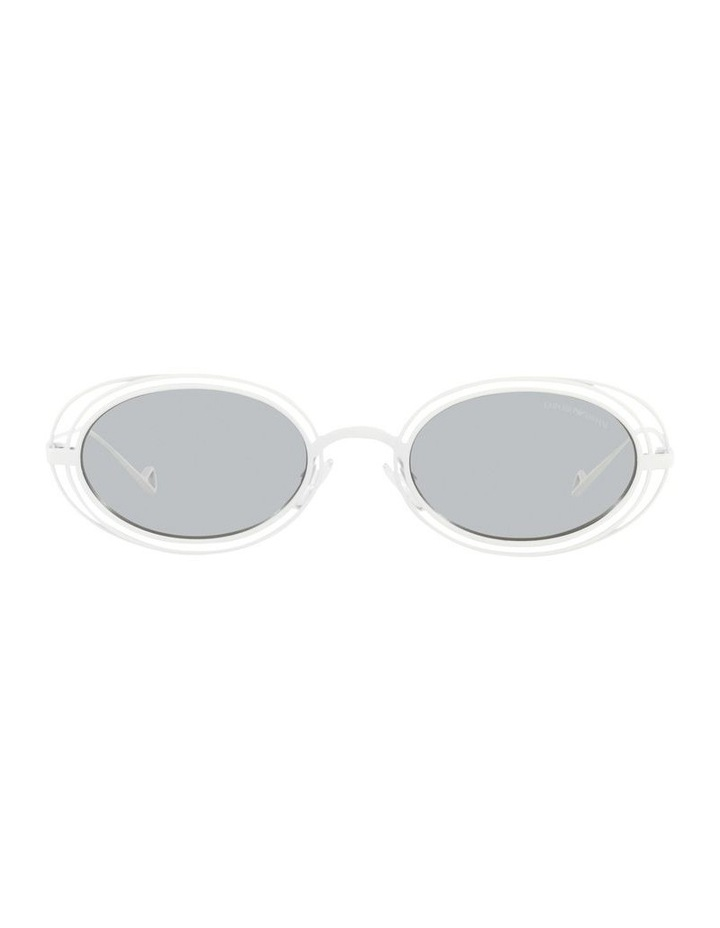 White Metal With Grey Tint Oval Sunglasses image 2