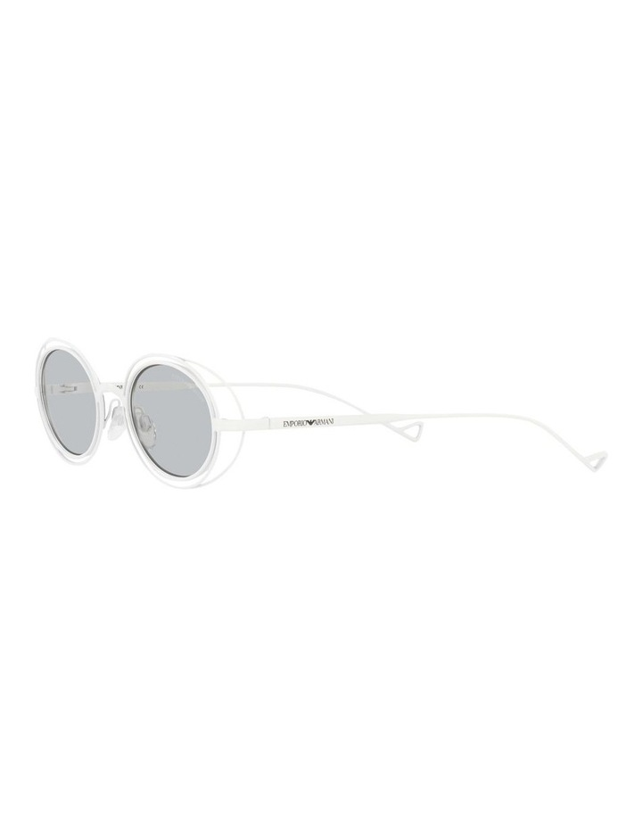 White Metal With Grey Tint Oval Sunglasses image 3